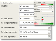TreeMap configuration panel and colormap editor